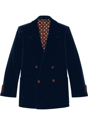 Gucci double-breasted velvet jacket - Blue