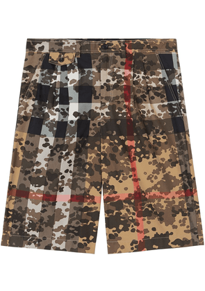Burberry Camouflage Check tailored shorts - Brown