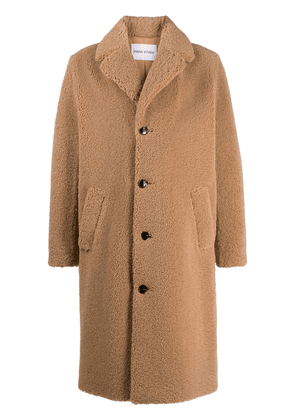STAND STUDIO Frank faux-fur single-breasted coat - Neutrals