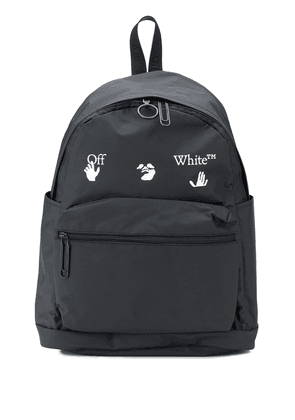 Off-White matte logo print backpack - Black