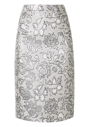 Andrew Gn floral brocade pencil skirt - SILVER