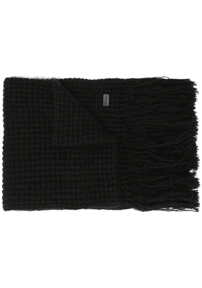 Saint Laurent fringed knitted scarf - Black