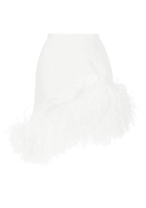 16Arlington Vivien feather-trimmed mini skirt - White