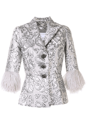 Andrew Gn floral brocade feather cuff jacket - SILVER