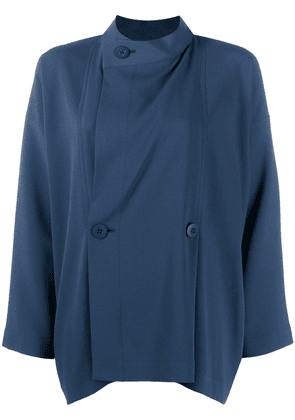 132 5. Issey Miyake off-centre buttoned blouse - Blue