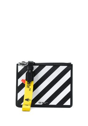 Off-White diagonal leather clutch - Black