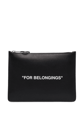 Off-White Quote leather pouch - Black