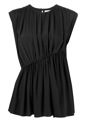 Erika Cavallini gathered asymmetric sleeveless blouse - Black