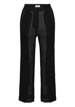 Beau Souci sheer virgin wool blend cropped trousers - Black