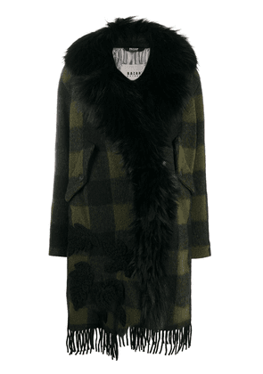 Bazar Deluxe checked faux-fur trimmed coat - Green