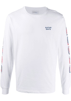 Saturdays Nyc striped long-sleeved T-shirt - White