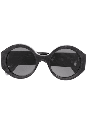 Off-White marbled-effect round-frame sunglasses - Grey