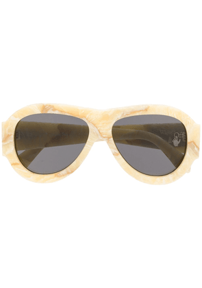 Off-White marbled-effect pilot-frame sunglasses - Neutrals