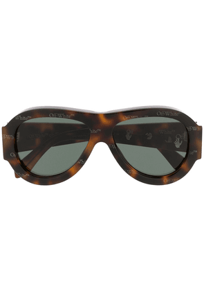 Off-White oversized pilot sunglasses - Brown
