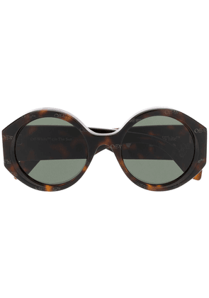 Off-White tortoiseshell-effect round frame sunglasses - Brown