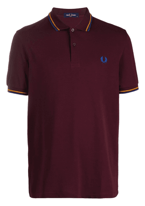 Fred Perry embroidered logo cotton polo shirt - PURPLE