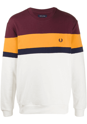 Fred Perry embroidered logo colour-block sweatshirt - PURPLE