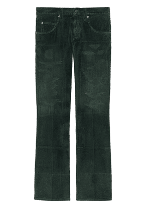 Gucci washed-effect corduroy wide-leg trousers - Green