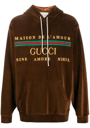 Gucci embroidered logo hooded sweatshirt - Brown