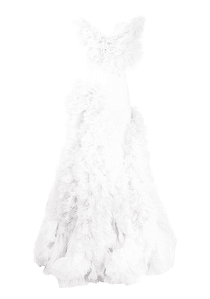 Loulou ruffled-tulle layered gown - White