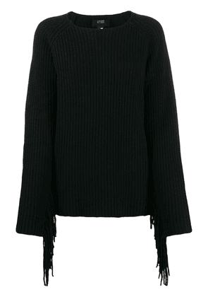 Cavalli Class relaxed-fit fringed jumper - Black