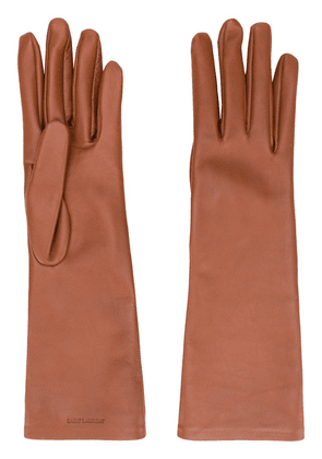 Saint Laurent logo-debossed 5-finger gloves - Brown