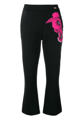 Cavalli Class floral print trousers - Black