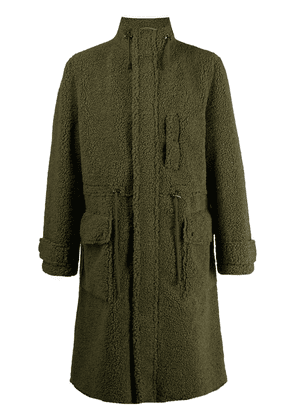 STAND STUDIO high-neck faux shearling coat - Green