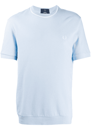 Fred Perry rib-trimmed cotton T-shirt - Blue