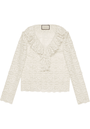 Gucci ruffled floral lace blouse - White