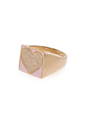 Alison Lou 14kt heart-embellished signet ring - YELLOW GOLD