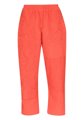 By Walid Lydia tonal-embroidered trousers - PINK