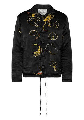 By Walid Jono dragon-embroidered bomber jacket - Black