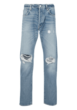 Simon Miller ripped mid-rise tapered jeans - Blue