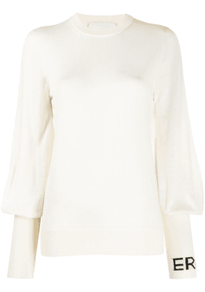 Erika Cavallini blouson-sleeved logo top - White