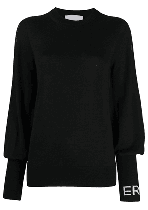Erika Cavallini blouson-sleeved logo top - Black