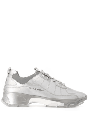 Filling Pieces metallic lace-up trainers - SILVER