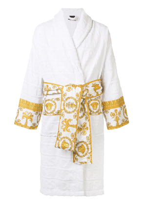 Versace Barocco trim bathrobe - White