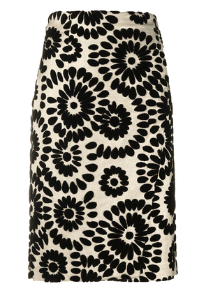Gianluca Capannolo floral-embroidered pencil skirt - GOLD