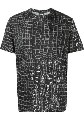 Just Cavalli logo grid print T-shirt - Black