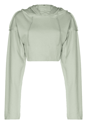 Danielle Guizio cropped fitted-style hoodie - Green