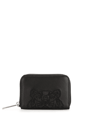 Kenzo logo-embroidered leather wallet - Black