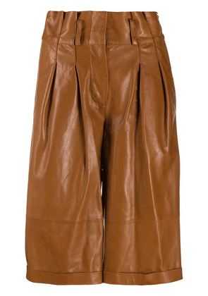 Arma pleated lambskin shorts - Brown