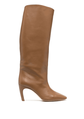 Gia Couture high-heeled leather boots - Brown