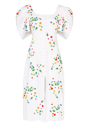 All Things Mochi Marisol floral-embroidered midi dress - White