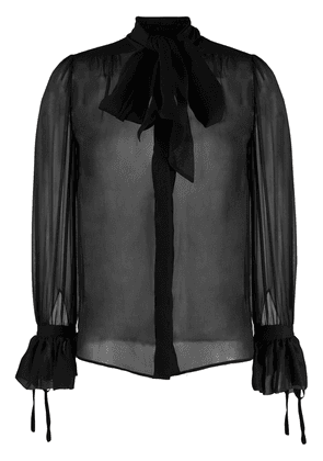 Saint Laurent pussybow silk blouse - Black