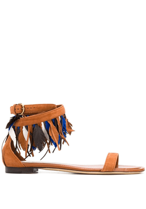 Tod's feather-detail suede sandals - Brown