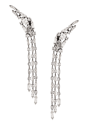 Saint Laurent winged cascading crystal clip-on earrings - SILVER