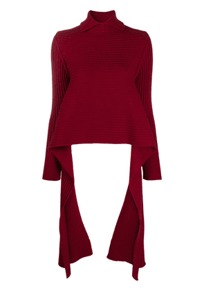 Rochas long-sleeved knitted polo shirt - Red