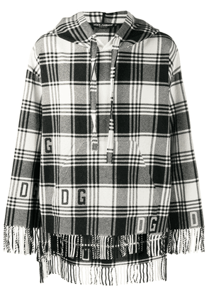 Dolce & Gabbana fringed checked knitted hoodie - Black